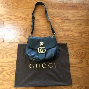 Gucci Marmont Animalier Black Leather Shoulder Bag